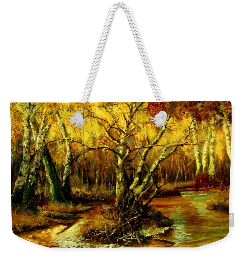 Henryk Weekender Tote Bag featuring the painting River In The Forest by Henryk Gorecki