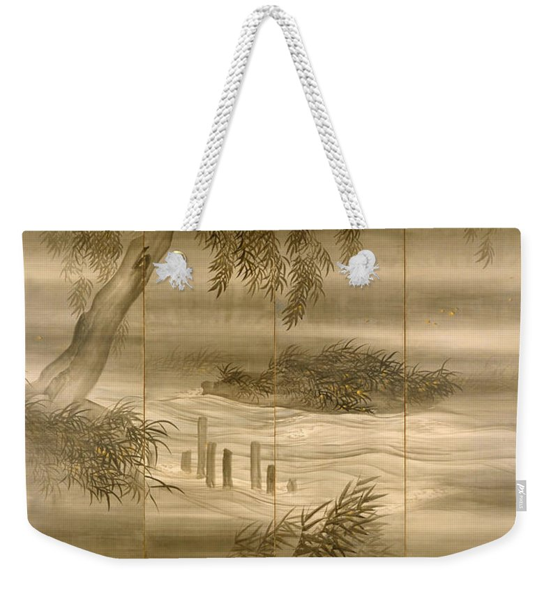 Painting Weekender Tote Bag featuring the painting River Landscape With Fireflies by Mountain Dreams