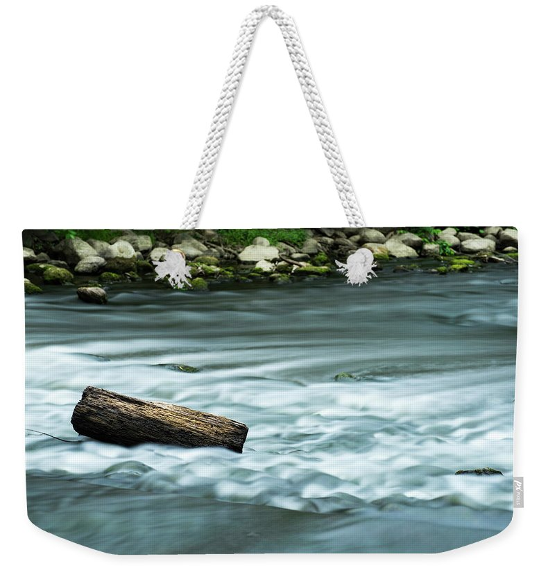 Rapids Weekender Tote Bag featuring the pyrography River Motion by Douglas Milligan
