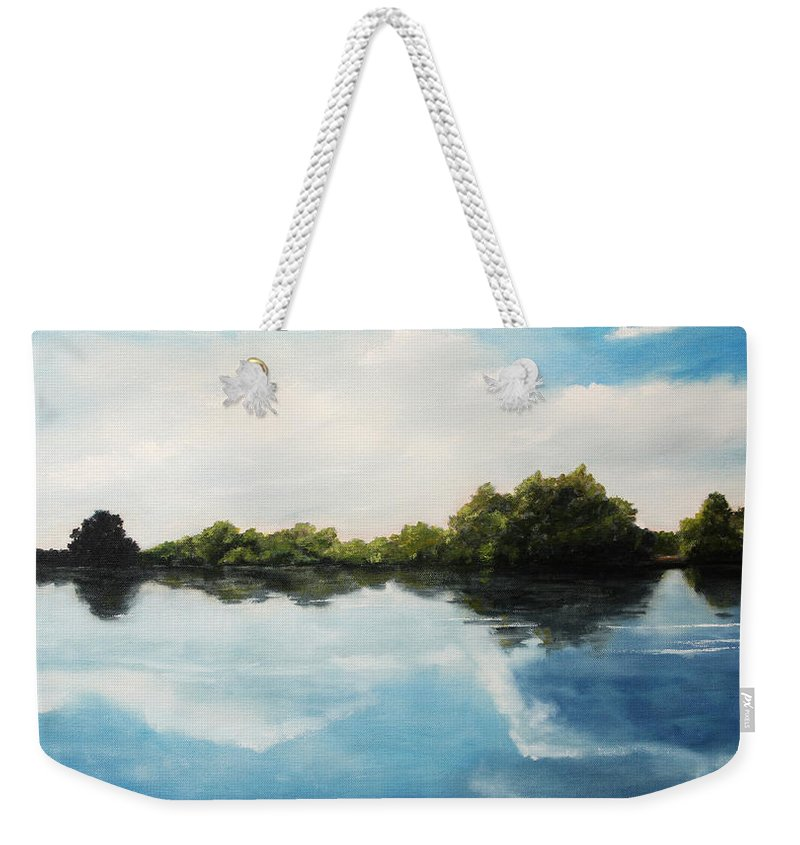 Landscape Weekender Tote Bag featuring the painting River of Dreams by Darko Topalski