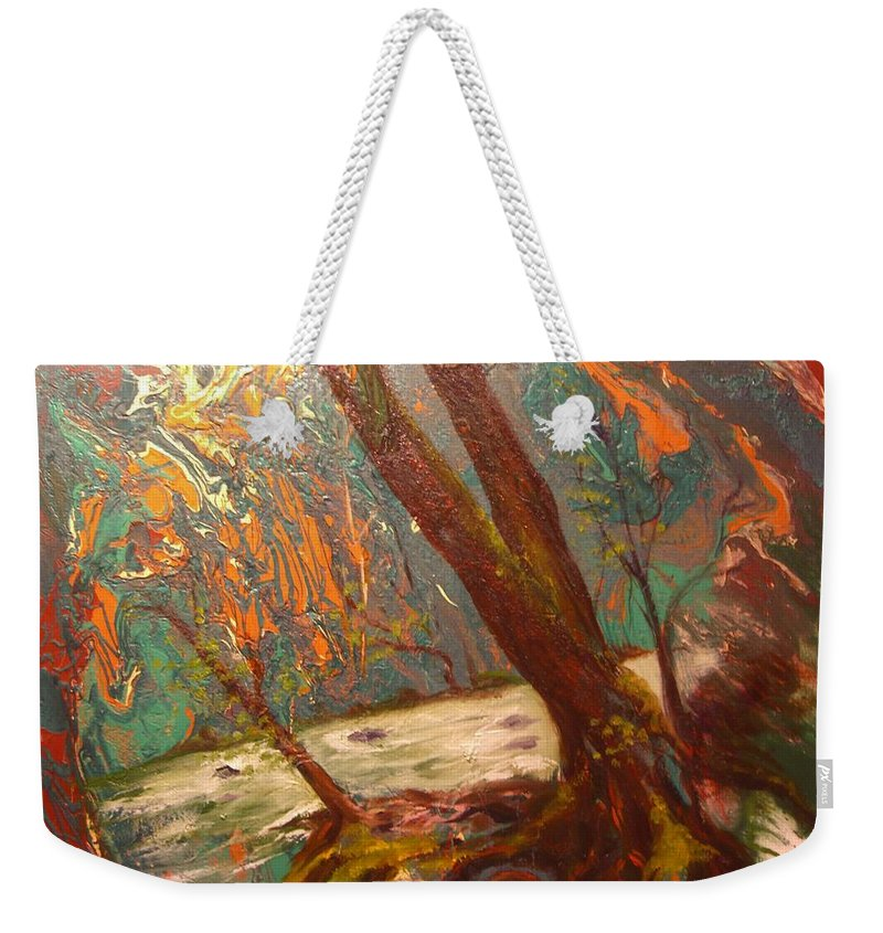 Nature Weekender Tote Bag featuring the painting River Of Energy by Sofanya White