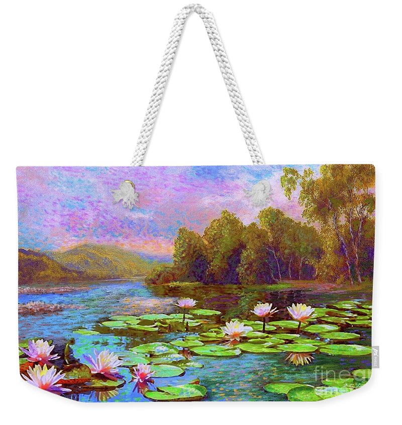 Floral Weekender Tote Bag featuring the painting The Wonder Of Water Lilies by Jane Small