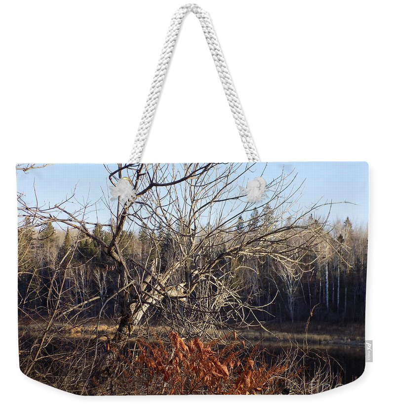 Tree Weekender Tote Bag featuring the photograph River Perch by William Tasker