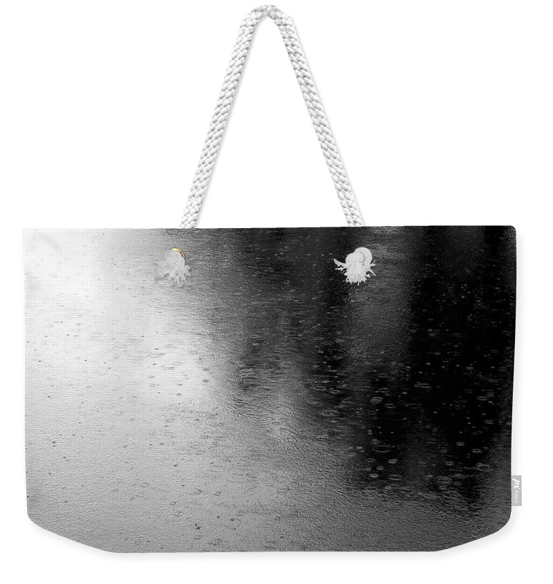 River Weekender Tote Bag featuring the photograph River Rain Naperville Illinois by Michael Bessler