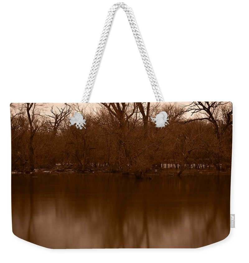 Black Weekender Tote Bag featuring the photograph River Reflections by Steve Gadomski