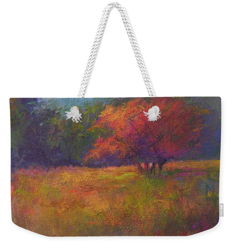 Landscape Weekender Tote Bag featuring the painting River Road Above New Hope by Susan Williamson