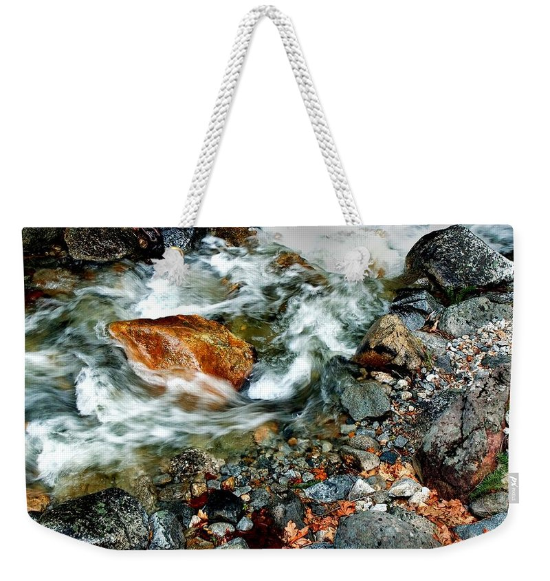 California Scenes Weekender Tote Bag featuring the photograph River Rock Leaves by Norman Andrus