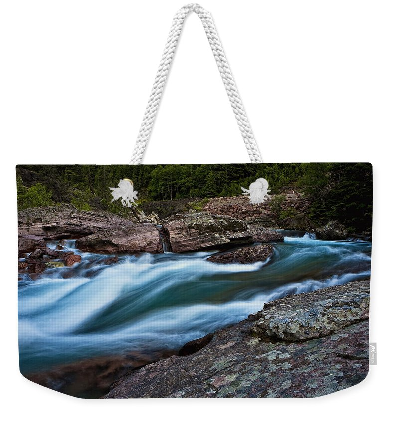 Nature Weekender Tote Bag featuring the photograph River Rocks by John K Sampson