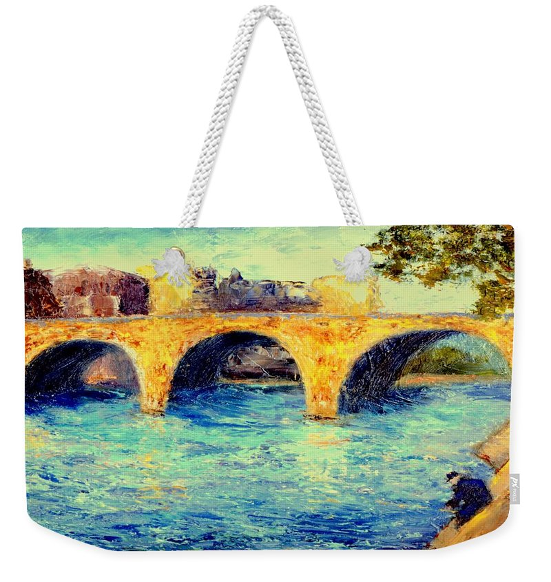 Impressionism Weekender Tote Bag featuring the painting River Seine Bridge by Gail Kirtz