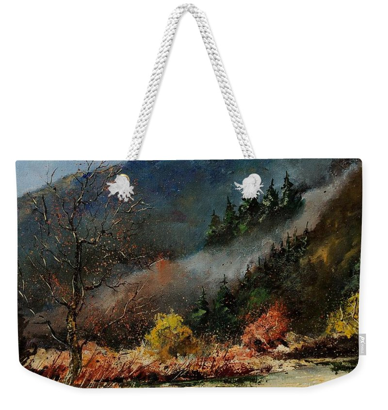 River Weekender Tote Bag featuring the painting River Semois by Pol Ledent
