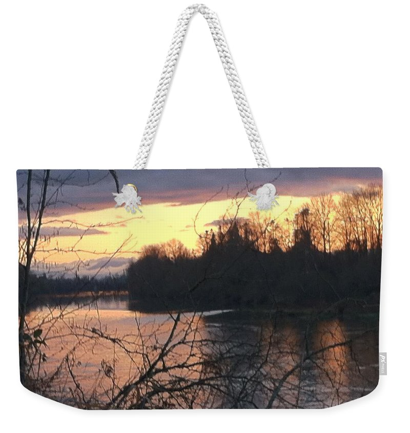 River Weekender Tote Bag featuring the photograph River by Shari Chavira