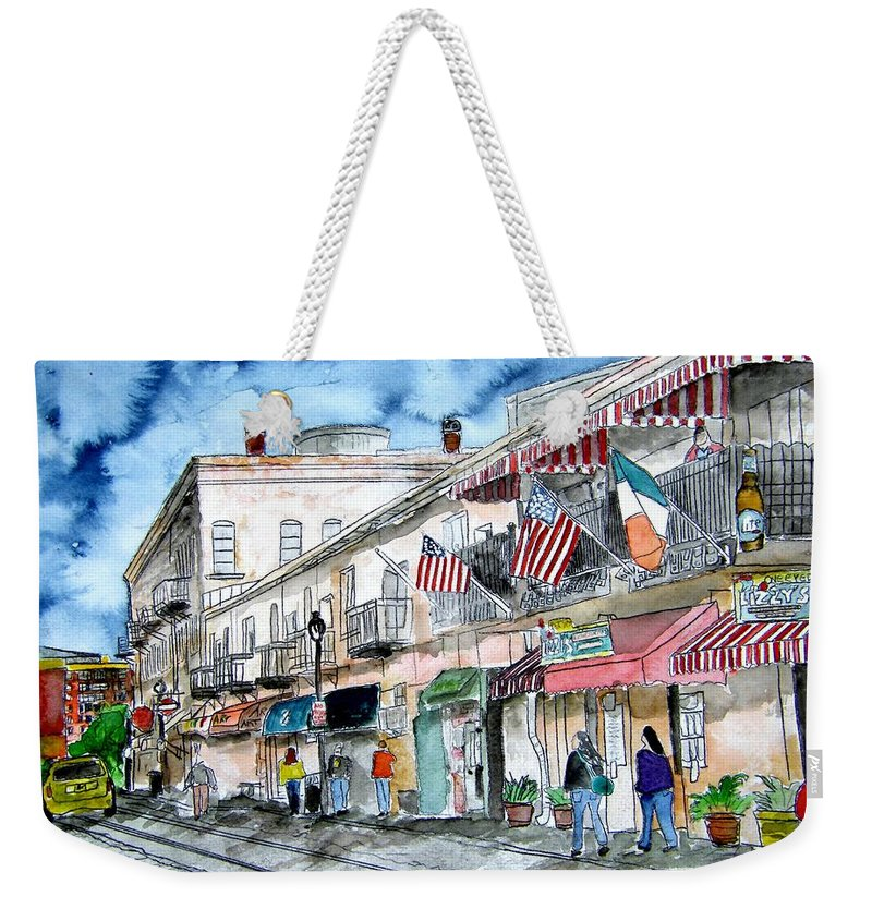 Savannah Weekender Tote Bag featuring the painting River Street Savannah Georgia by Derek Mccrea