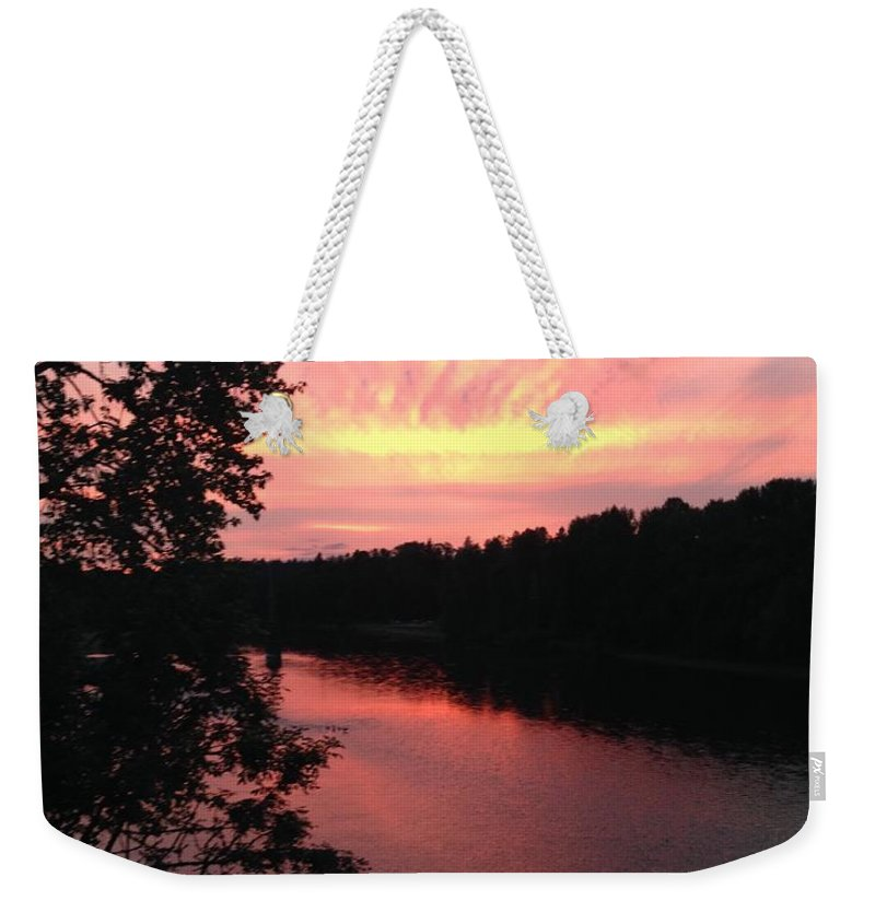 River Weekender Tote Bag featuring the photograph River sunset by Shari Chavira
