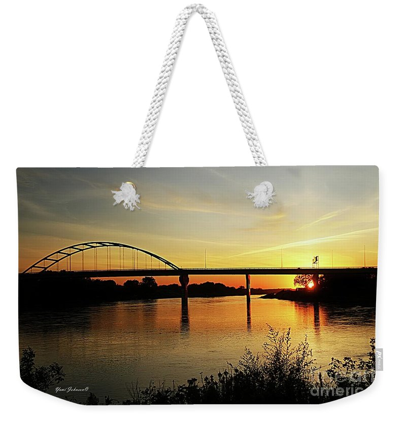 Sunset Weekender Tote Bag featuring the photograph River Sunset by Yumi Johnson