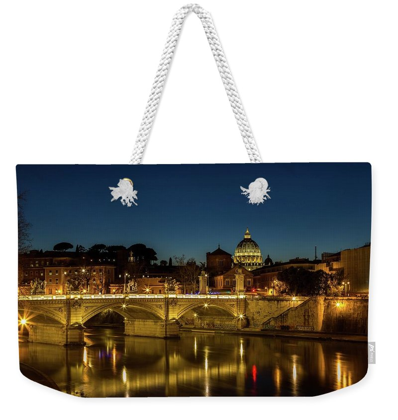 Cityscape Weekender Tote Bag featuring the photograph River Tiber And Vatican At Night by Mike Houghton BlueMaxPhotography
