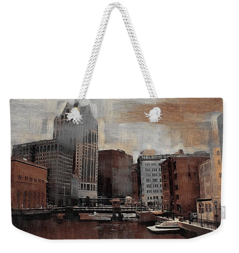 River Weekender Tote Bag featuring the digital art River View Aged by Anita Burgermeister