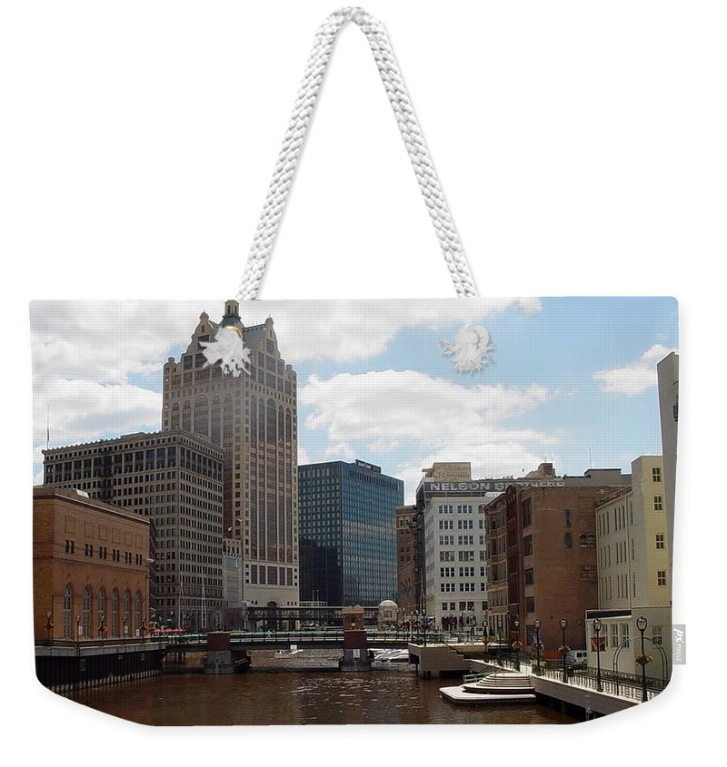 Milwaukee Weekender Tote Bag featuring the photograph River View by Anita Burgermeister