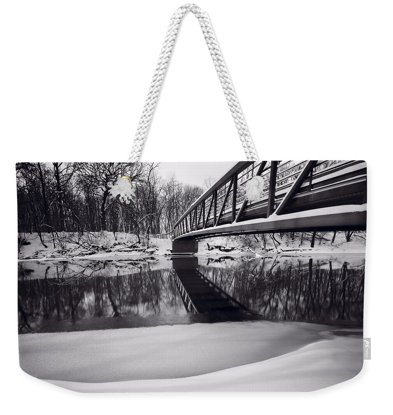 Bridge Weekender Tote Bag featuring the photograph River View B And W by Steve Gadomski