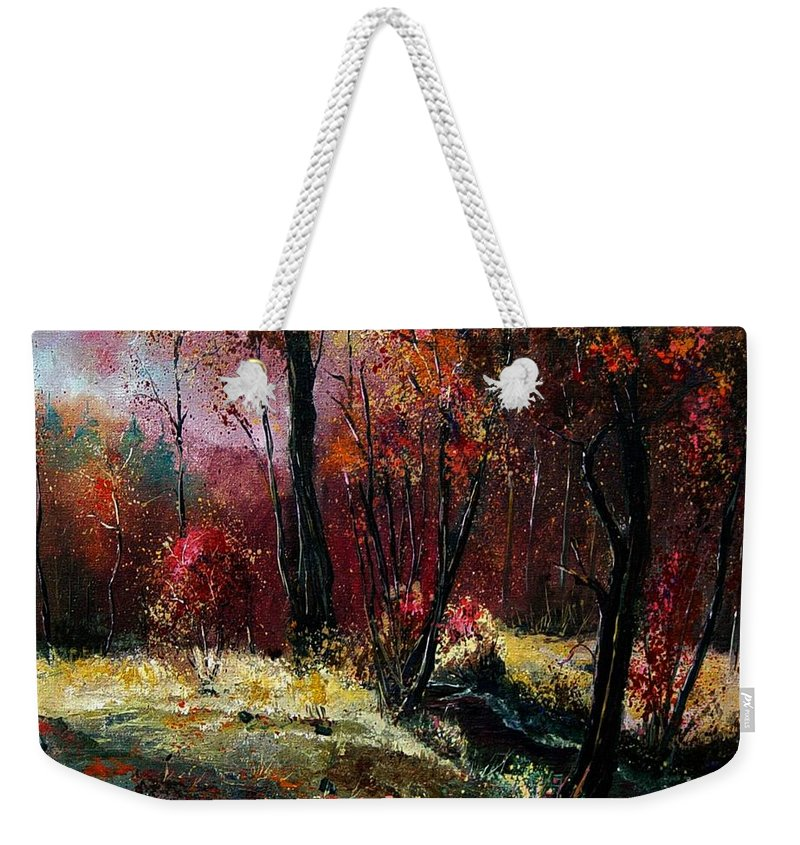 River Weekender Tote Bag featuring the painting River Ywoigne by Pol Ledent