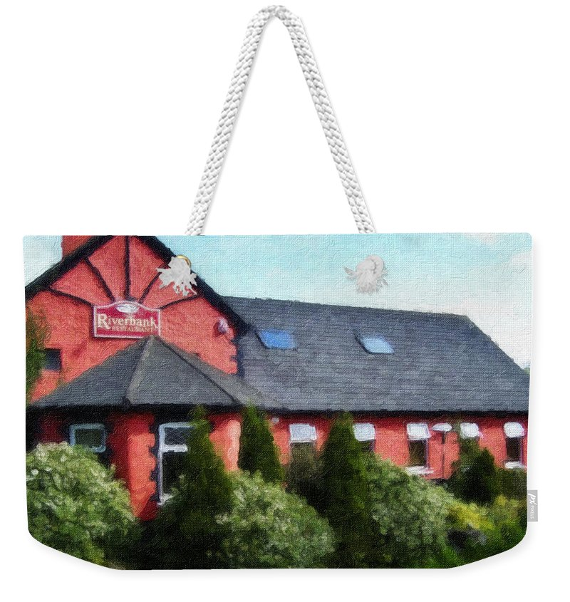 Ireland Weekender Tote Bag featuring the painting Riverbank Restaurant Riverstown Ireland by Teresa Mucha
