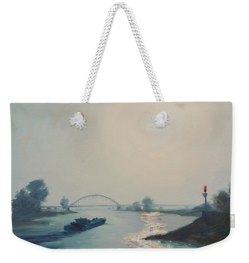 River Weekender Tote Bag featuring the painting Riverbarge by Rick Nederlof