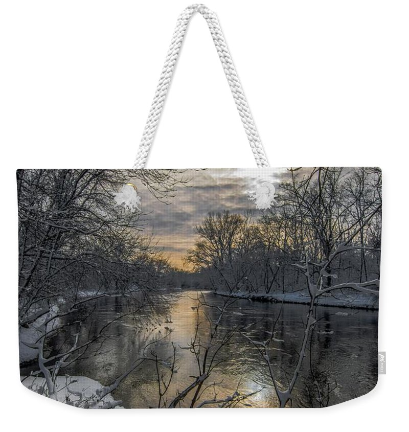 River Winter Sunset Water Sun Sky Love Weekender Tote Bag featuring the photograph Riverbend by Bob White