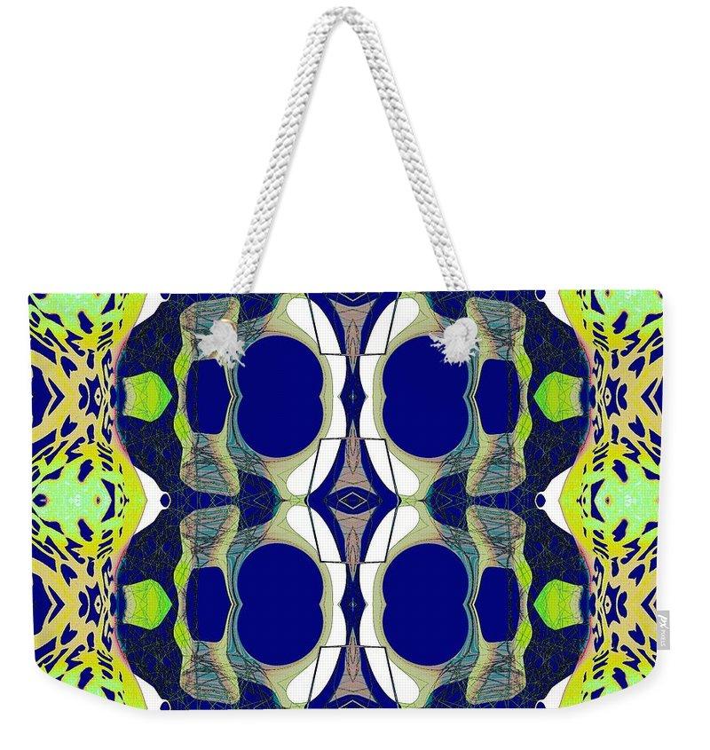 Weekender Tote Bag featuring the digital art Riverdale Blue Green by Elisabeth Skajem Atter