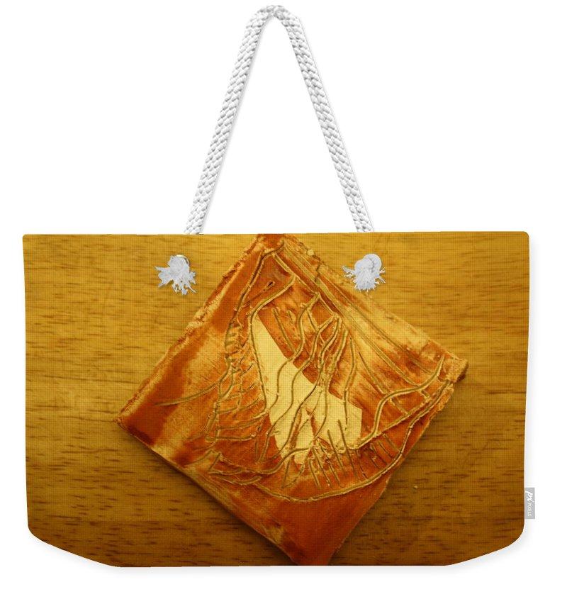 Jesus Weekender Tote Bag featuring the ceramic art Rivers - Tile by Gloria Ssali