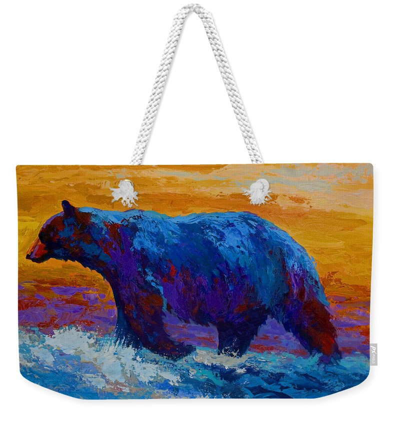 Bear Weekender Tote Bag featuring the painting Rivers Edge I by Marion Rose