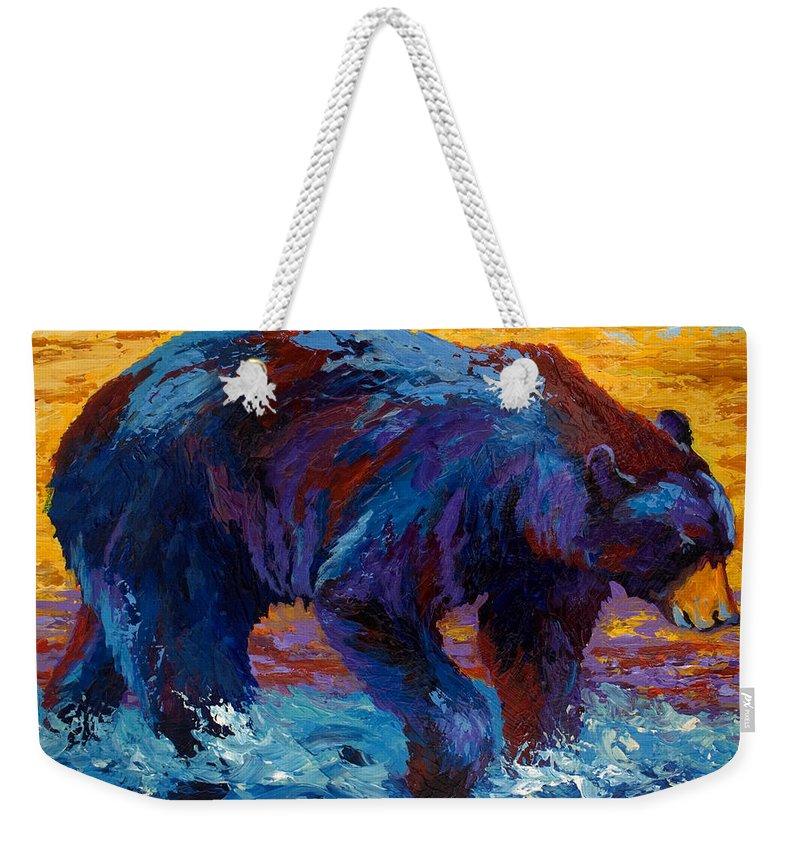 Western Weekender Tote Bag featuring the painting Rivers Edge II by Marion Rose