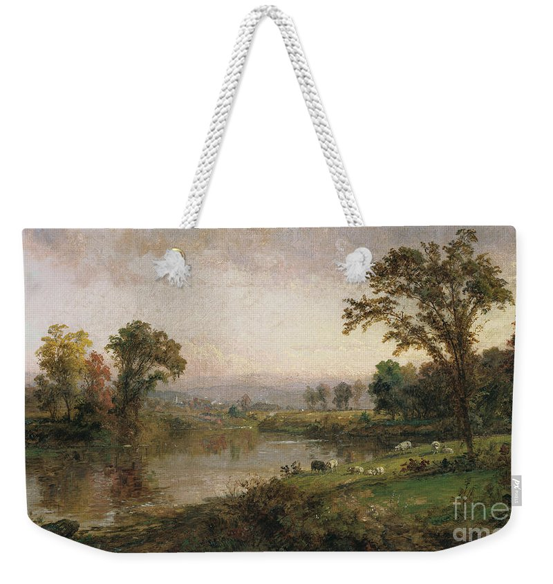 Riverscape - Early Autumn Weekender Tote Bag featuring the painting Riverscape In Early Autumn by Jasper Francis Cropsey