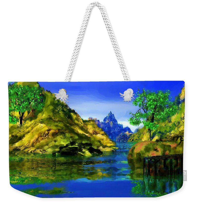 Landscape Weekender Tote Bag featuring the digital art Riverside by David Lane