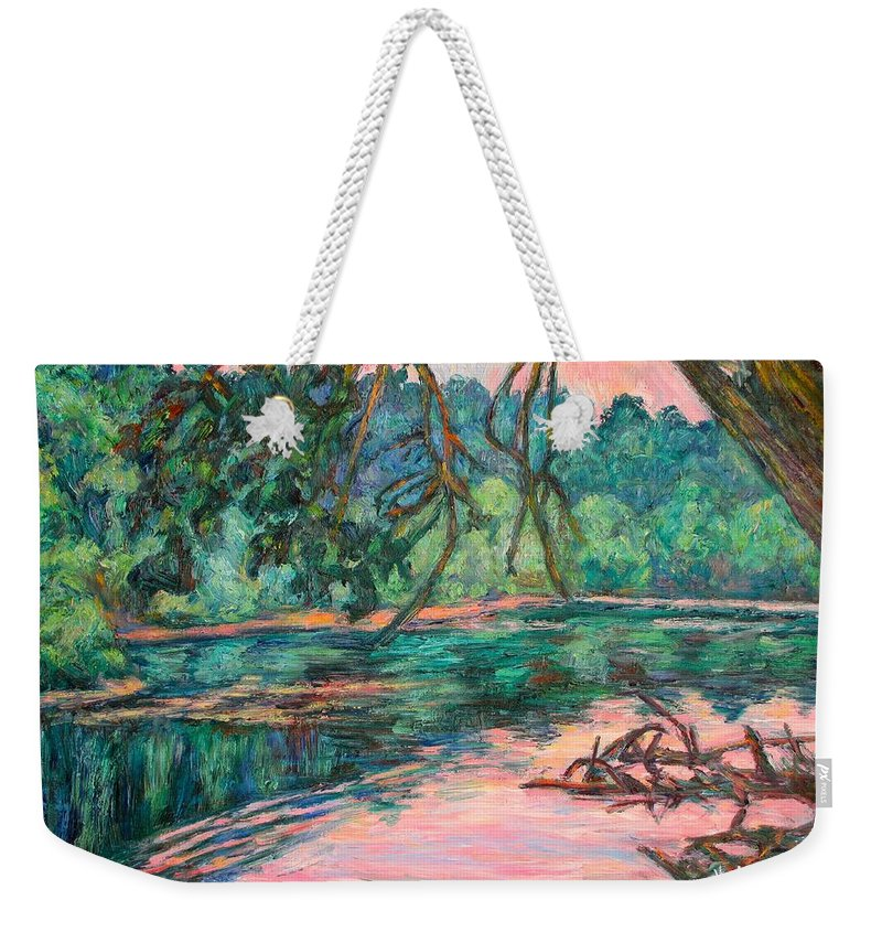 Riverview Park Weekender Tote Bag featuring the painting Riverview At Dusk by Kendall Kessler