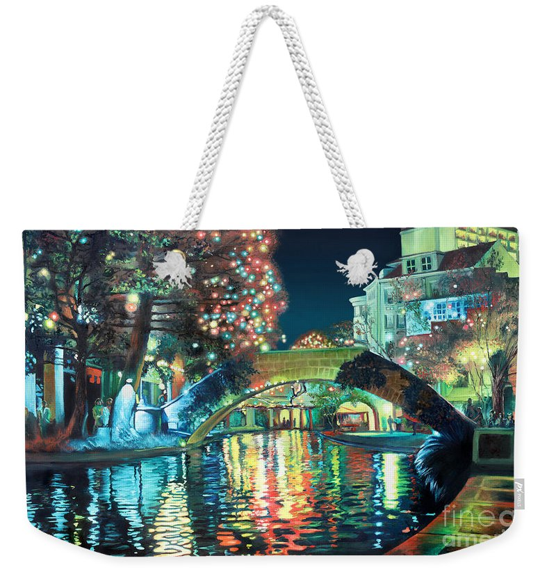 Landscape Weekender Tote Bag featuring the painting Riverwalk by Baron Dixon