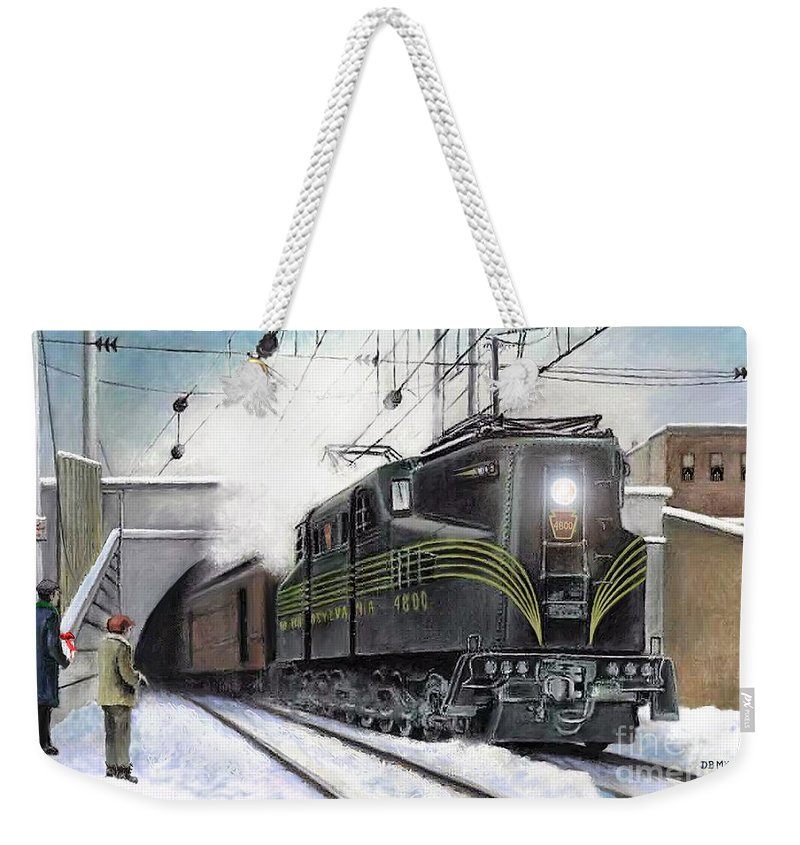 Pennsylvania Railroad Weekender Tote Bag featuring the painting Rivets by David Mittner
