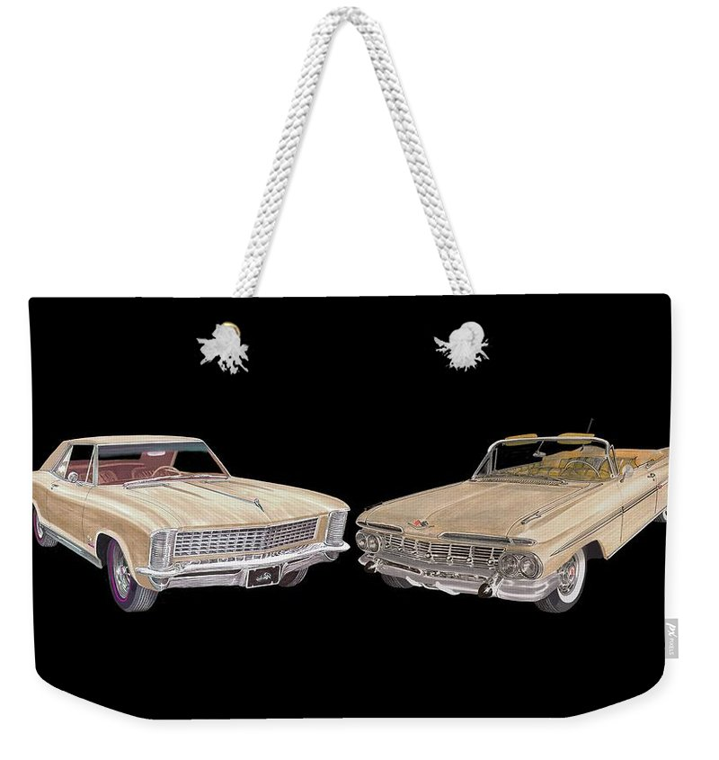 Tee Shirt Art Of 1965 Buick Riviera And A 1959 Chevrolet Impala Weekender Tote Bag featuring the painting Riviera And Impala 1965 And 1959 by Jack Pumphrey