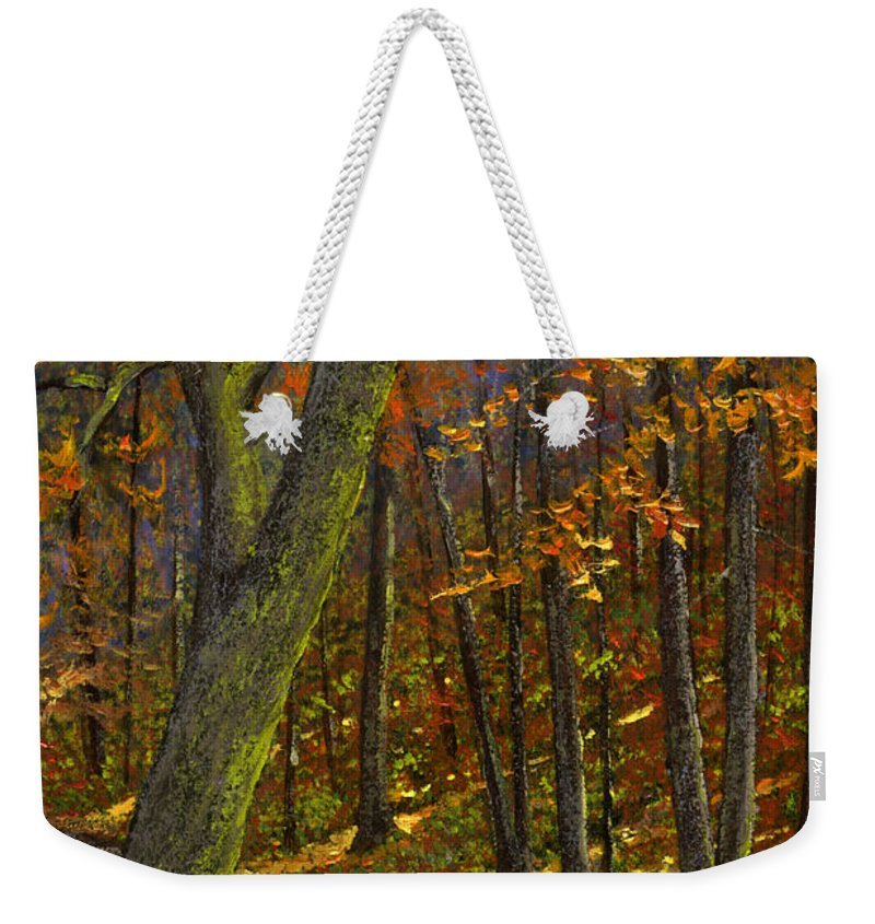 Landscape Weekender Tote Bag featuring the painting Road In The Woods by Frank Wilson