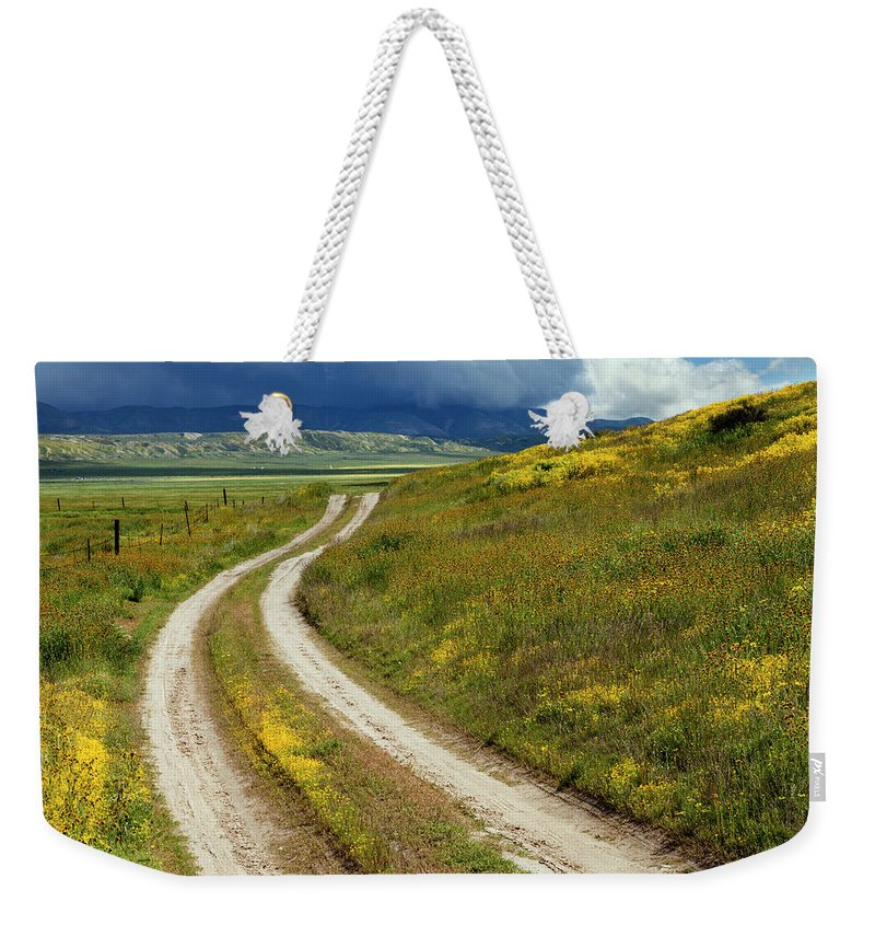 Carrizo Weekender Tote Bag featuring the photograph Road Through The Wildflowers by Rick Pisio
