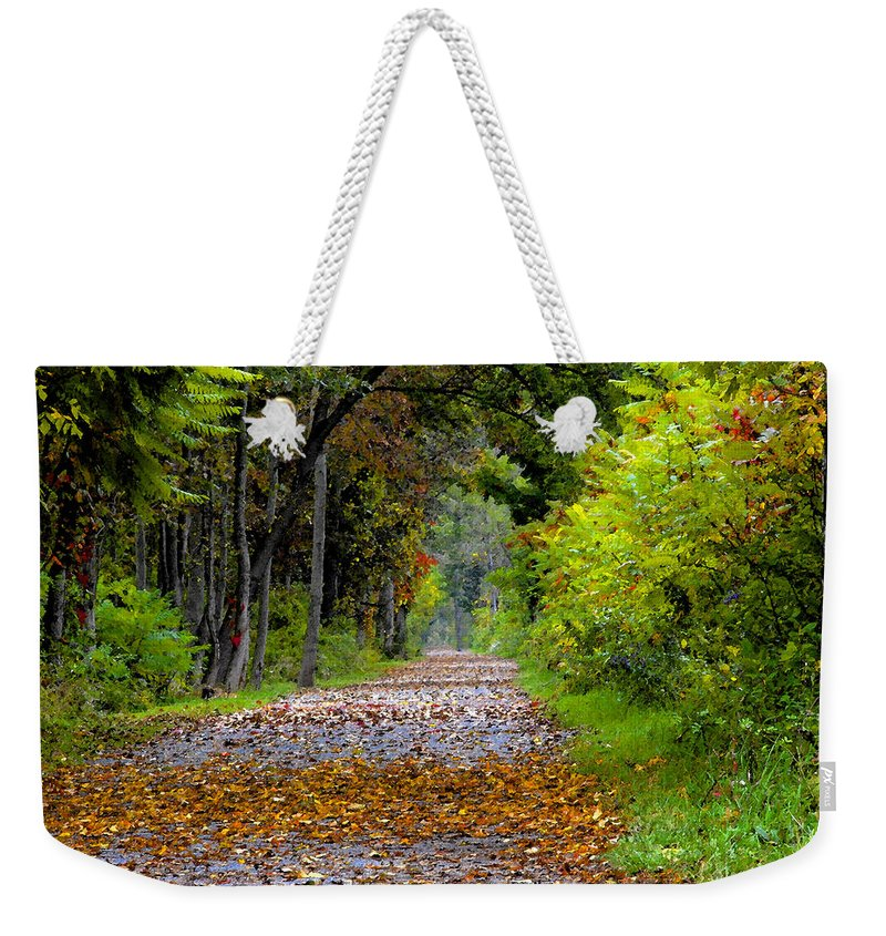 Fall Weekender Tote Bag featuring the painting Road To Autumn by David Lee Thompson