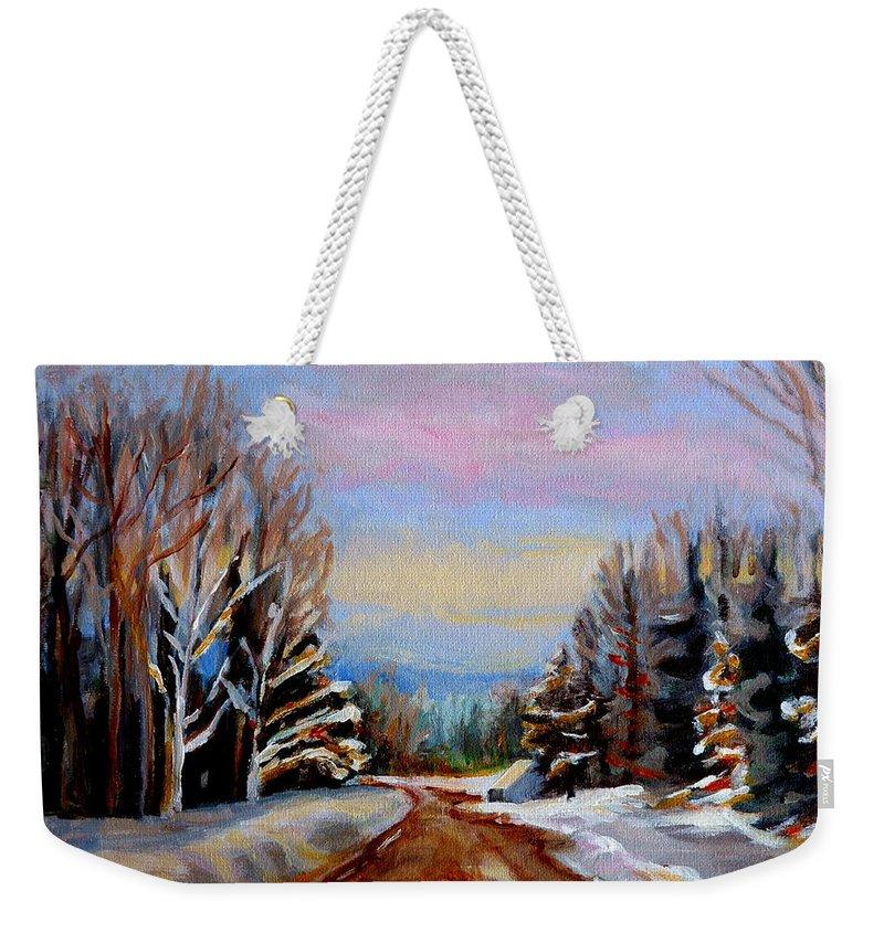 Road To Knowlton Quebec Weekender Tote Bag featuring the painting Road To Knowlton Quebec by Carole Spandau