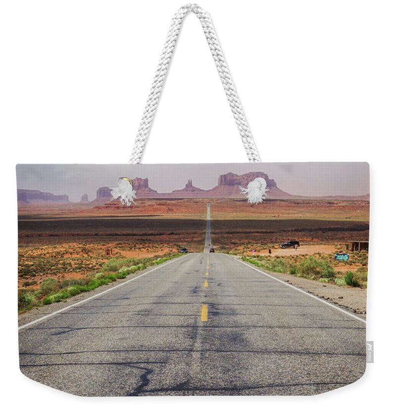 Landscape Weekender Tote Bag featuring the photograph Road To Monument Valley by Joan McCool