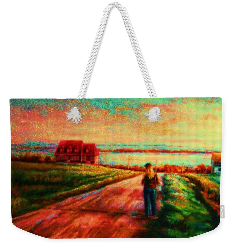 Mystery Road Weekender Tote Bag featuring the painting Road To Red Gables by Carole Spandau