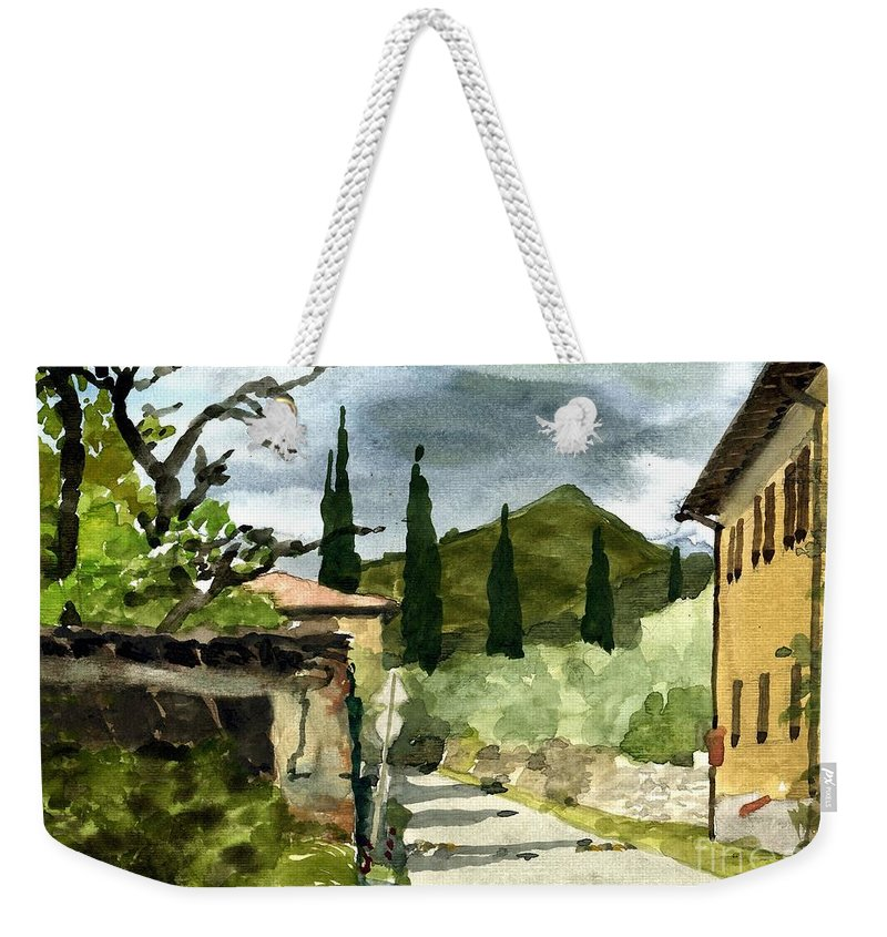 Landscape Weekender Tote Bag featuring the painting Road To Reggello by Robert Bowden