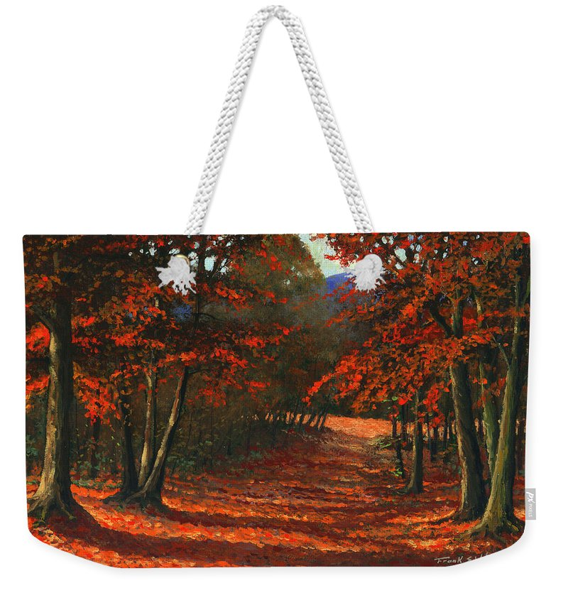 Landscape Weekender Tote Bag featuring the painting Road To The Clearing by Frank Wilson