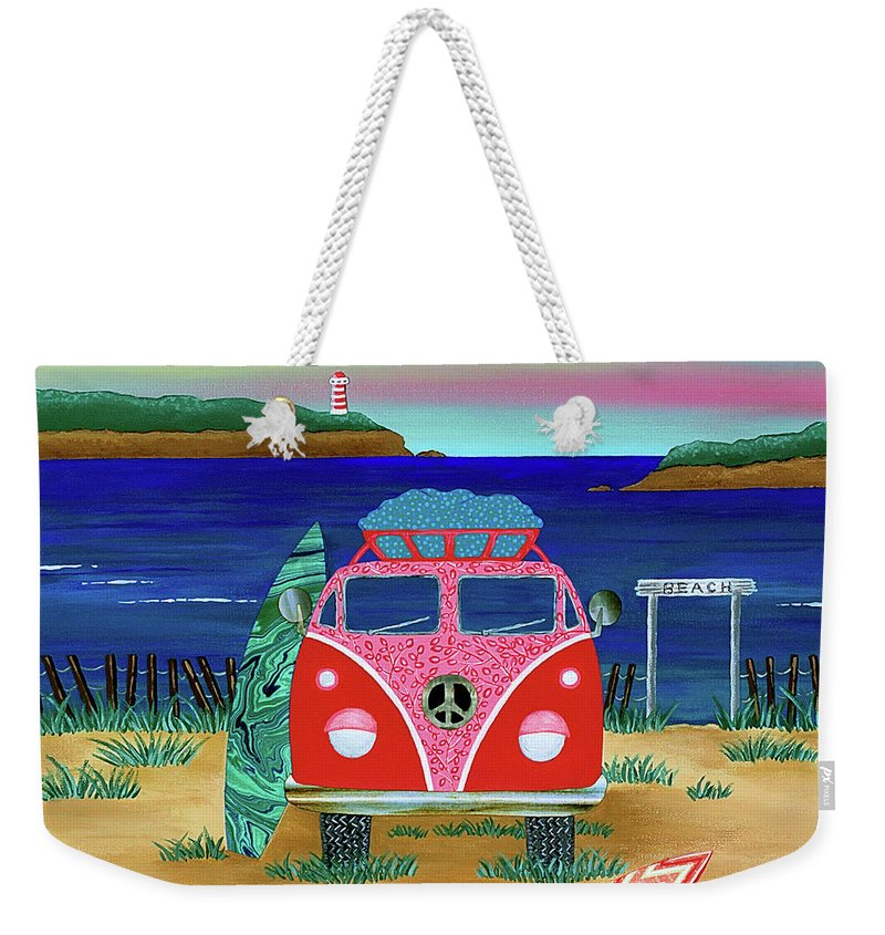 Kombie Weekender Tote Bag featuring the painting Road Trip No. 1 by Lisa Frances Judd