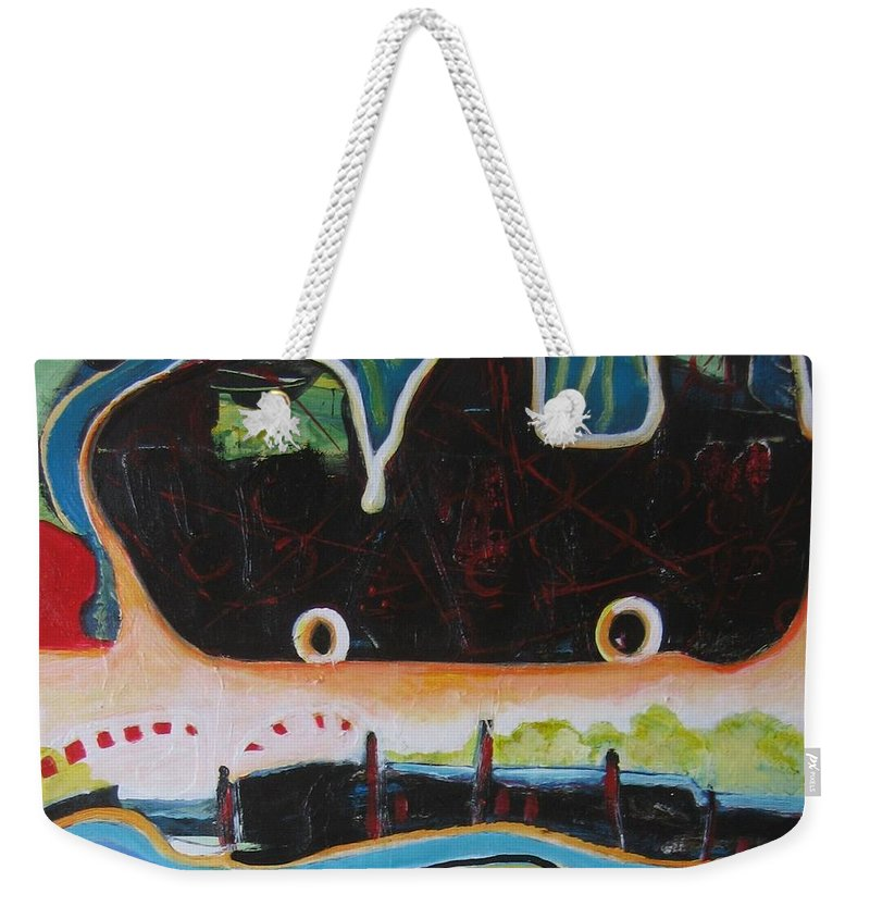 Abstract Paintings Weekender Tote Bag featuring the painting Road Trip by Seon-Jeong Kim