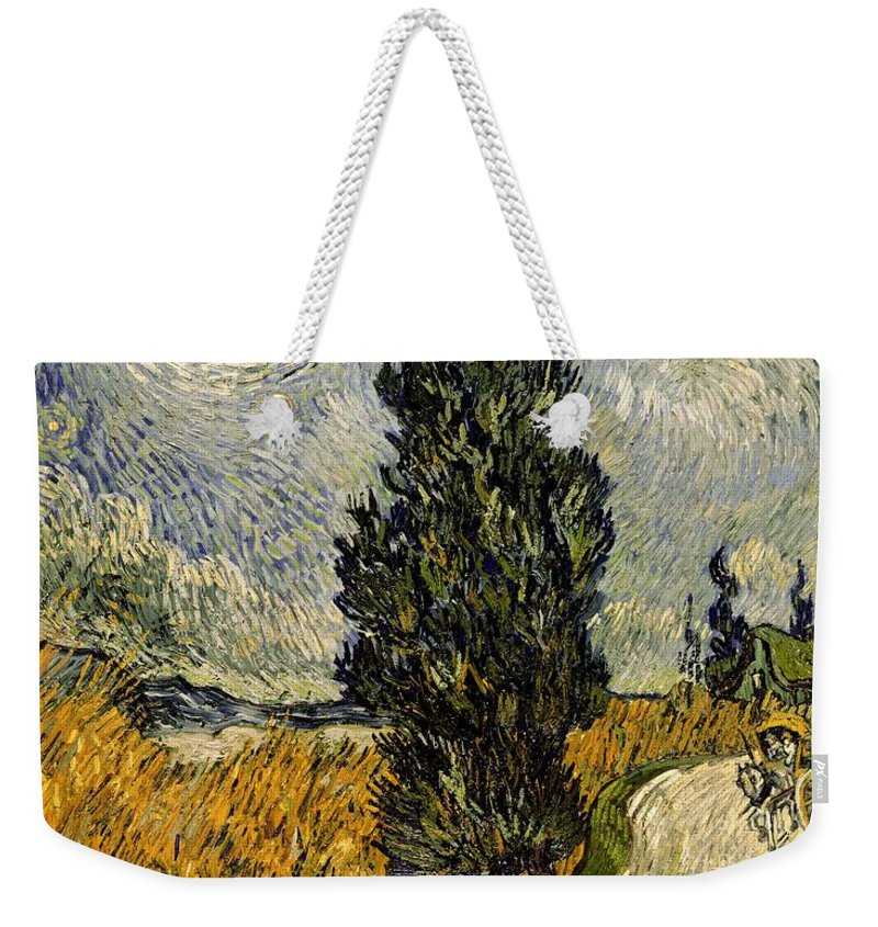 Road Weekender Tote Bag featuring the painting Road With Cypresses by Vincent Van Gogh