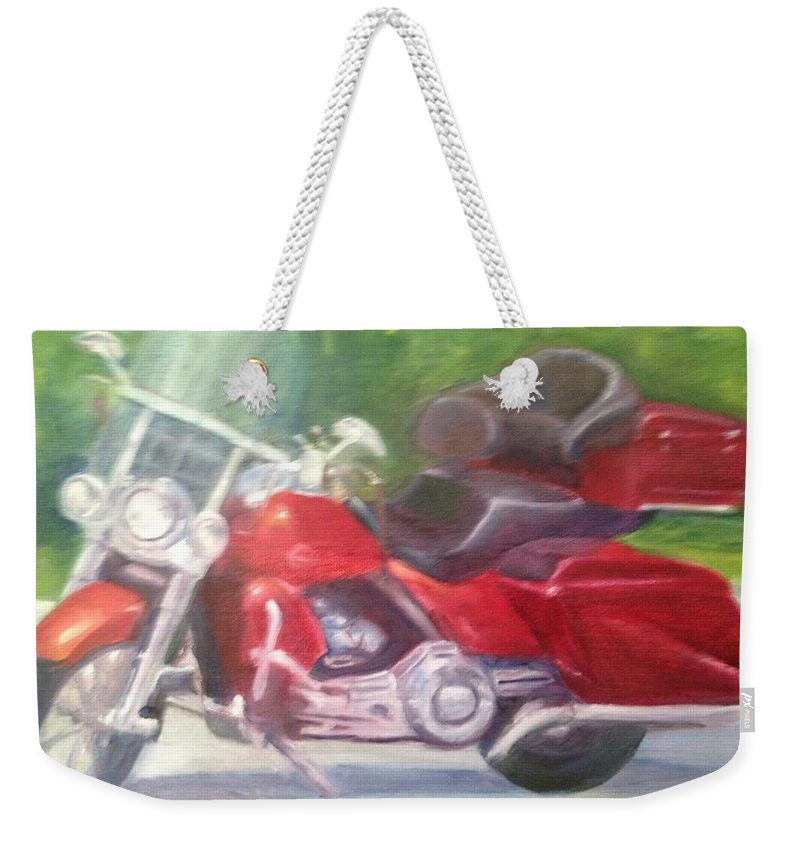 Roadkingcvo Weekender Tote Bag featuring the painting Roadkingcvo by Sheila Mashaw