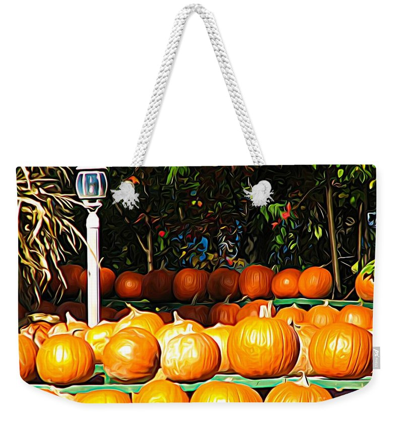 Roadside Pumpkin Stand Expressionist Effect Weekender Tote Bag featuring the mixed media Roadside Pumpkin Stand Expressionist Effect by Rose Santuci-Sofranko