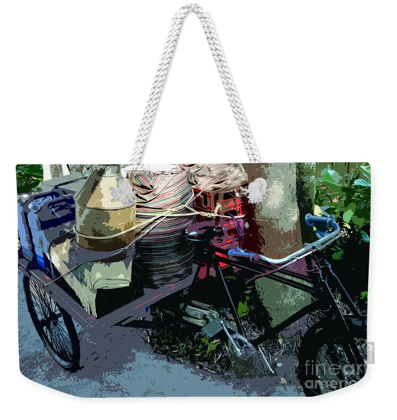 Bicycle Weekender Tote Bag featuring the painting Roadside Stop by David Lee Thompson